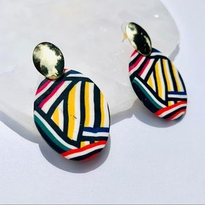 Geometric Gold Ovals Polymer Clay Earrings